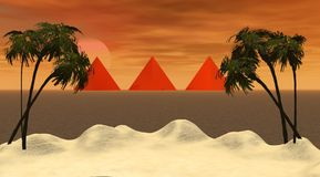 Island and pyramids Royalty Free Stock Image