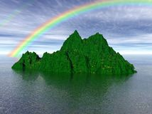 Island with rainbow. Three dimensional illustration of a green island with two rainbows above it Stock Images