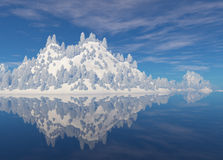Island reflecting in the water. Royalty Free Stock Photo