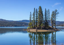 Island & Reflection in Mountain Lake. Mountain Lake With Island In Sierra Nevada Mountains Royalty Free Stock Images
