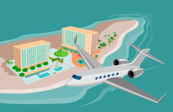 Island resort and airplane Stock Photography