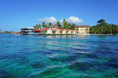 Island resort with cabins overwater Royalty Free Stock Photography