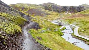 Island, Reykjadalur-heiße Quellen, Hveragerdi stockfotografie
