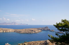 Island of Rhodes. View from the amphitheater in Lindos Royalty Free Stock Photography