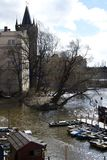 Island on river Vltava of Prague Royalty Free Stock Image