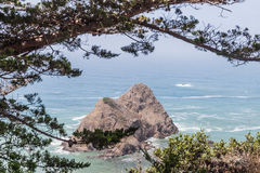 The Island. An Island or rock formation near the coastline of Mendocino, view from highway 1, California Coast Stock Image