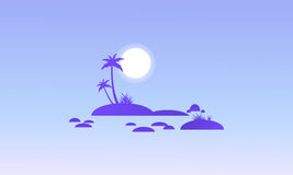 Island and rock on seaside silhouettes Stock Image