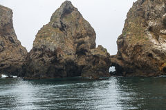 Island Rocks. Jagged volcanic rocks at Anacapa Island in California Stock Photos