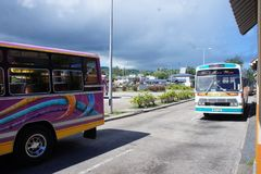 The only public land transport on the island of Rodriguez - bus. On the island of Rodriguez by bus you can reach all the main settlements stock photos