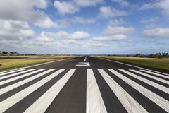 Island Runway. Tropical runway at a regional island airport in Hawaii Stock Photo