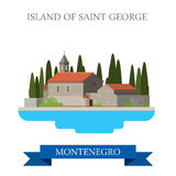 Island of Saint George Montenegro flat vector attraction sight. Island of Saint George in Montenegro. Flat cartoon style historic sight showplace attraction web Royalty Free Stock Images