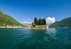 Island of Saint George. Is one of the two islets off the coast of Perast in Bay of Kotor, Montenegro. The island contains Saint George Benedictine monastery Royalty Free Stock Image
