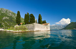 Island of Saint George. Is one of the two islets off the coast of Perast in Bay of Kotor, Montenegro. The island contains Saint George Benedictine monastery Stock Photography