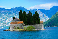 The island of Saint George. View of the island of Saint George (Island of the Dead) in the bay of Kotor, Montenegro Stock Images