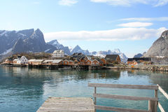 The island of Sakrisoy seen from a pontoon Royalty Free Stock Image