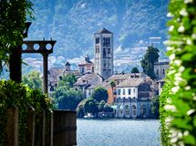 The island of San Giulio by the Italian lake - lago d`Orta, Piemonte, Italy. Royalty Free Stock Photography