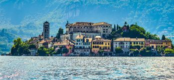 The island of San Giulio by the Italian lake - lago d`Orta, Piemonte, Italy. stock images