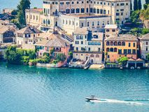 The island of San Giulio by the Italian lake - lago d`Orta, Piemonte, Italy. royalty free stock photo