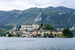 The island of San Giulio on lake Orta Royalty Free Stock Images