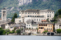 The island of San Giulio on lake Orta Stock Photo