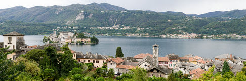 The island of San Giulio on lake Orta Stock Photos