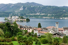 The island of San Giulio on lake Orta Royalty Free Stock Photography