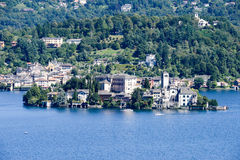 The island of San Giulio on lake Orta Royalty Free Stock Photos