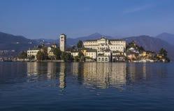 The island of San Giulio on Lake Orta with its impressive monastery stock image