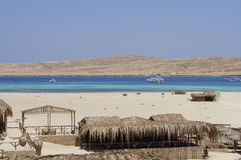 Island and sandy beach on the Red Sea stock photo