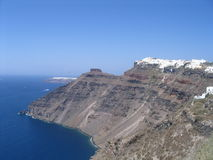 Island santorini. Buildings in top of the vulcan Royalty Free Stock Photo