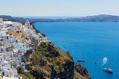 Island Santorini, Fira town. Greece, Santorini, Fira town. Morning view of the building and the Bay Royalty Free Stock Photography