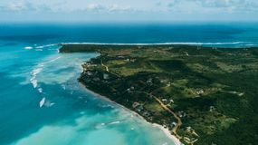 Island Saona. Sky view stock images