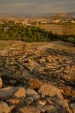 Island of Sardinia, Italy. Archaeological site Nuraghi of Barumini. Ruins archaeological landscape in Sardinia. Nuragic culture. Ancient stone circles and stock photography