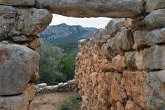 Island of Sardinia, Italy. Archaeological site Nuraghi Sa Sedda and Sos Carros. Archaeological ruins landscape in Sardinia. Nuragic culture. Ancient stone stock image