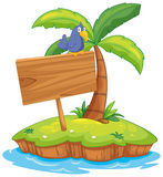 Island scene with bird on wooden sign Royalty Free Stock Photo