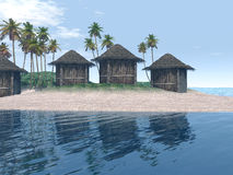 Island Scene With Huts and Palm Trees Royalty Free Stock Image