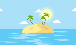 Island scenery with palm cartoon vector Royalty Free Stock Photography