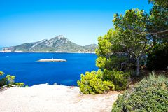Island scenery, seascape of Mallorca Spain. Idyllic coastline of Majorca, Mediterranean Sea on sunny day. Turquoise water and green hills of Serra de Stock Photography