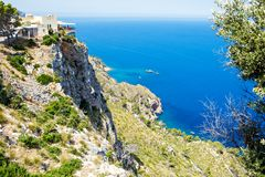 Island scenery, seascape of Mallorca Spain. Idyllic coastline of Majorca, Mediterranean Sea on sunny day. Turquoise water and green hills of Serra de Stock Image