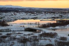 Island-Schnee umfasste Landschaft Lizenzfreie Stockfotografie