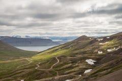 Island-Schotterstraßewicklung durch szenische Landschaft stockbilder