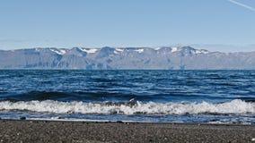 Island, schwarzer Strand, nahe durch HusavÃk lizenzfreies stockfoto