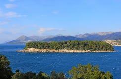 Island in the Sea. Adriatic Landscape, Daksa Island in Dubrovnik, Croatia Stock Images
