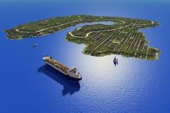 Island in the sea. Stock Photos