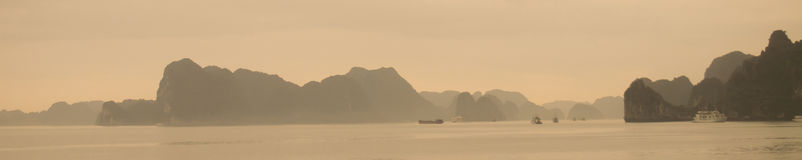 Island and Sea in Halong Bay, Vietnam. Panorama view Stock Photos
