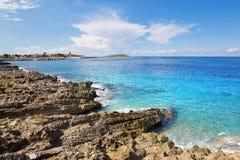 Island in sea. Isola delle femmine, Sicily. Stock Photos