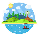 Island in the sea with lighthouse, hill, tree, mountain, fish an. D sailing ship. Summer time holiday voyage concept. Illustration in flat style. Travel Royalty Free Stock Photos