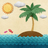 Island and sea recycled paper craft Stock Image