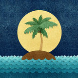 Island and sea recycled paper craft Stock Photos
