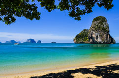 Island sea sand sun beach landscape at phra nang bay, Thailand Royalty Free Stock Photos